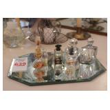 8pc Small Perfume Bottles & Bevel Mirror