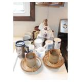 17pc Coffee Cups & Cup Rack
