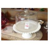 Fenton Ruffled Hobnail Cake Stand w/Cover 12.5""