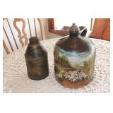 Hand Painted Stoneware Jug & Tin Container