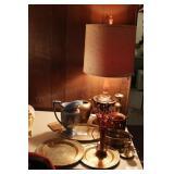 12pc Brass & Copper Lamp & Décor