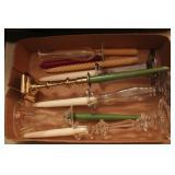 6pc Clear Glass & Brass Candlesticks