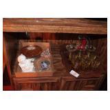 16pc Stemware, Serving Tray & Decorative Pieces