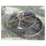 "pair of 34x4.5"" cast iron wheels"