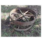 "pair of 32x5"" cast iron wheels with cleats"