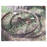"Pair of 40x3"" steel wheels"