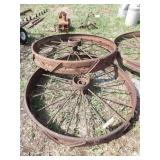 "pair of 44x6"" steel wheels w/ riveted cleats"
