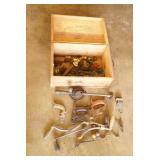 Wood Crate w/ Hand Drill Parts & Saw Handles