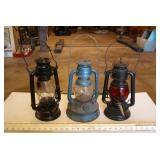 "3pc 12"" Vintage Oil Lanterns"