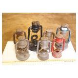 7pc Vintage Oil Lantern Bodies - No Lenses