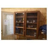 2 Door Glass Front Oak Cabinet Showcase