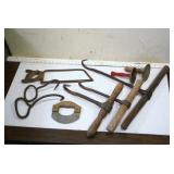 Farm butchering tools - hooks, hog scrapers etc