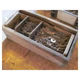 Vintage Wood Crate W/Square Concrete Nails