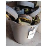 Bucket of JD Mower Casters & Parts