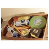 chalk, level, tape measures, 100 ft tape, speed sq