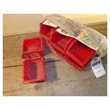 Red plastic hardware bins/sorters