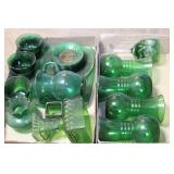 green glass - cups, vases, pitchers