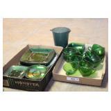 Emerald green glass luncheon sets & pitcher