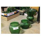 3pc Green glass vases