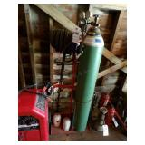 oxygen tank on cart w/ hose & gauges