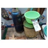 Vintage metal canister set, bowl & thermos