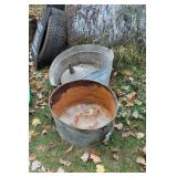 Galvanized tubs & gas funnel