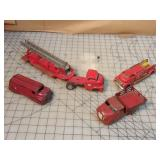 4pc Small Vintage Tin Fire Truck Toys