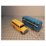 2 Tin Busses - double decker, school bus