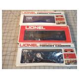 3pc Lionel Box Cars / Caboose w/Boxes