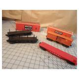 Lionel 4pcs - Boxcars, log cars, & flat cars