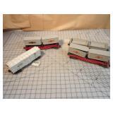 Lionel 4pcs - Boxcar, Semi & Double unloader