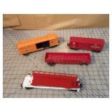 Lionel 4pcs - boxcars, gondola & syrup car