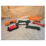 Lionel 6pcs - unloader cars & boxcar
