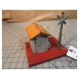 Lionel #76 Warning Bell & Shack w/ Crossing Sign