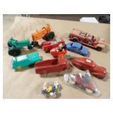 11pc Sun & Auburn Rubber Toy Vehicles