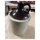 Vintage Gallon Crock Jug - Brown Top