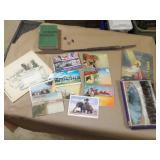 Souvinier Post Cards, Match Books, Thermostat, etc