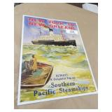 Southern Pacific Steamships Tin Sign