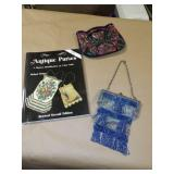 3pc Antique Beaded Purses & Collectors Book
