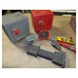 8pc Vintage Coin Banks & Noisemakers