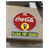 "Coca-Cola ""Please Pay Cashier"" Tin Wall Sign"