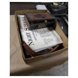 Tin Cigar Box w/ War News Clippings, Maps, Strop
