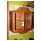 Glass Front Oak 2 Shelf Wall Cabinet