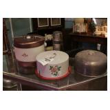 Metal Covered Cake Plates & Other - 4 Pc
