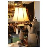 Tall Glass & Ceramic Table Lamp
