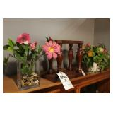 Small Wood Stand, 2 Vases W/ Silk Flowers, 3 Pc