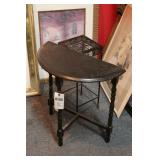 Small Wood Table & Metal Stand - 2 Pc