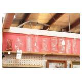 Glass Vases on Upper Shelf - 9 Pc