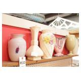 Ceramic Vases on Upper Shelf - 6 Pc