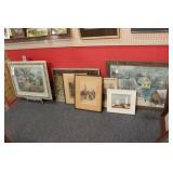Framed Prints on Floor - 7 Pc - Landscapes, Etc